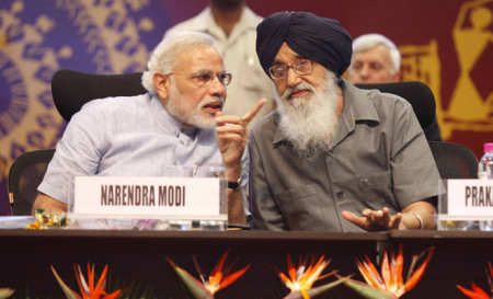 Modi Not Welcome - Modi with much maligned Punjab CM Badal