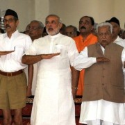 Modi with the RSS, the far-right Hindu nationalist organisation