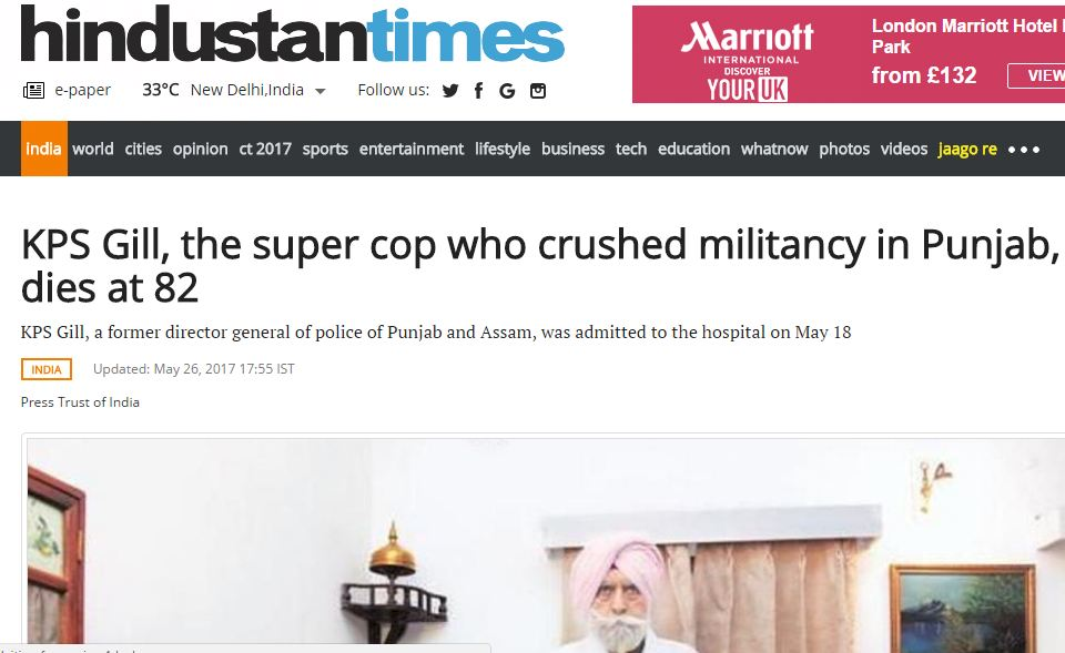 Kps Gill machaud good he is dead supercop cunt headline