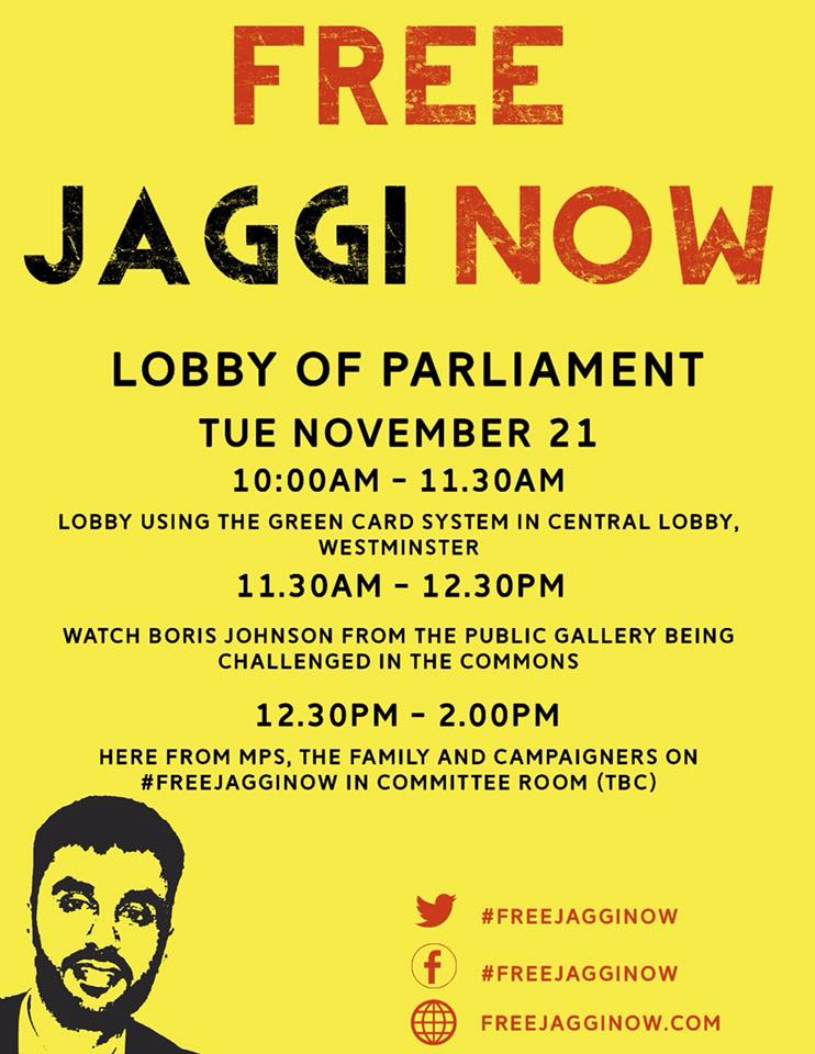 Free Jaggi Now - lobby parliament posters