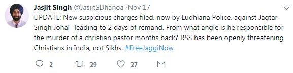 Jas Dhanota tweet #freejagginow christian pastor
